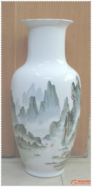 七十年代手绘绛彩山水纹大瓷瓶