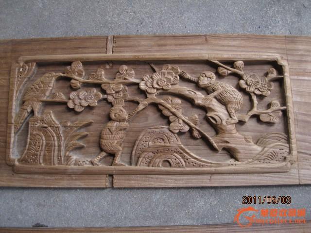 清代老木雕房门腰板松竹梅柳动物画板四块一套