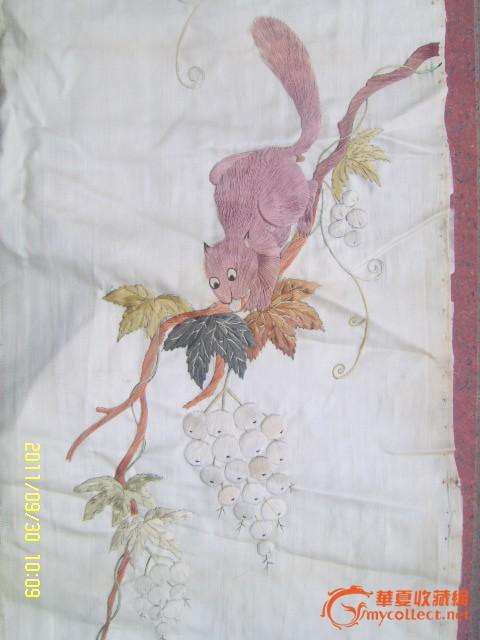 两幅民国刺绣花鸟