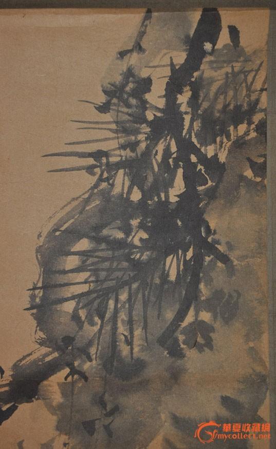 民国日本画家高桥雨亭手绘水墨花卉画《老松》立轴