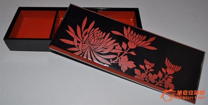 日本朱黑漆菊花纹莳绘老漆盒/首饰盒