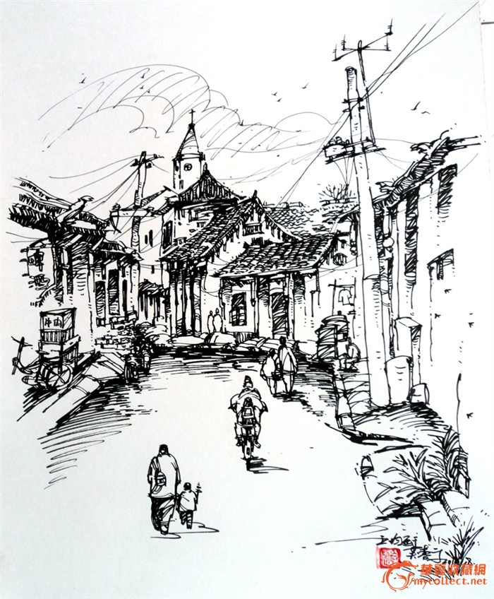 写意钢笔画 济南芙蓉街