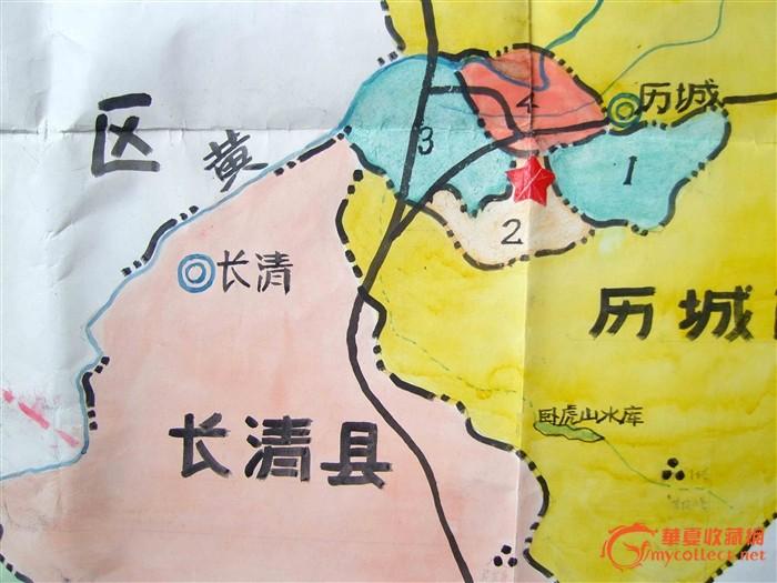 手绘彩色旧地图《济南市政区图》一大张