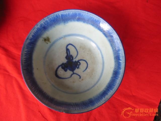 陶瓷 其它 清代青花内外画花纹斗笠碗(包老)