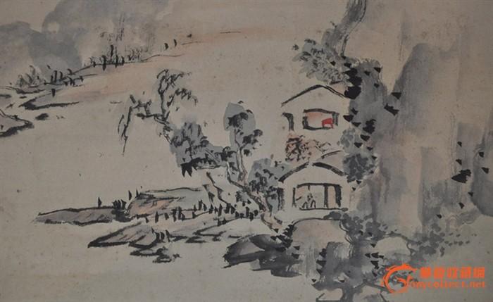 民国日本画家达堂手绘水墨淡彩画《春景山水》原作立轴