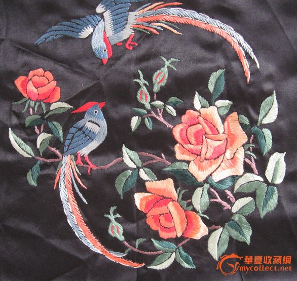 黑底凤凰戏牡丹图刺绣图片