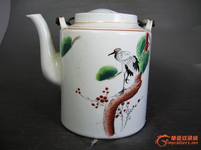 民国手绘延年松鹤瓷壶