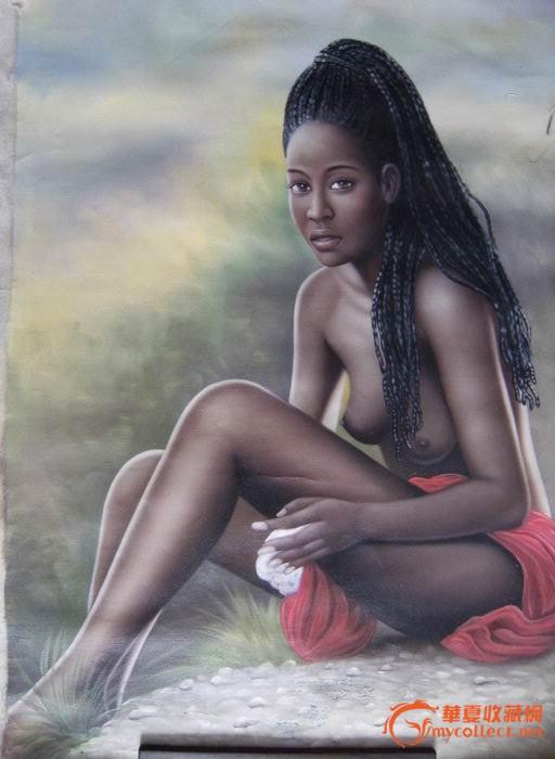 西洋油画原版原创黑人美少女
