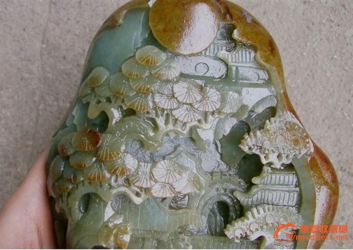 和田玉籽料原石雕刻【福如东海 寿比南山不老松】 和田玉籽料原石雕刻