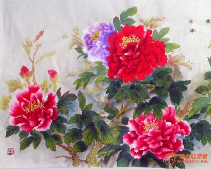威海着名画家工笔花鸟牡丹图片