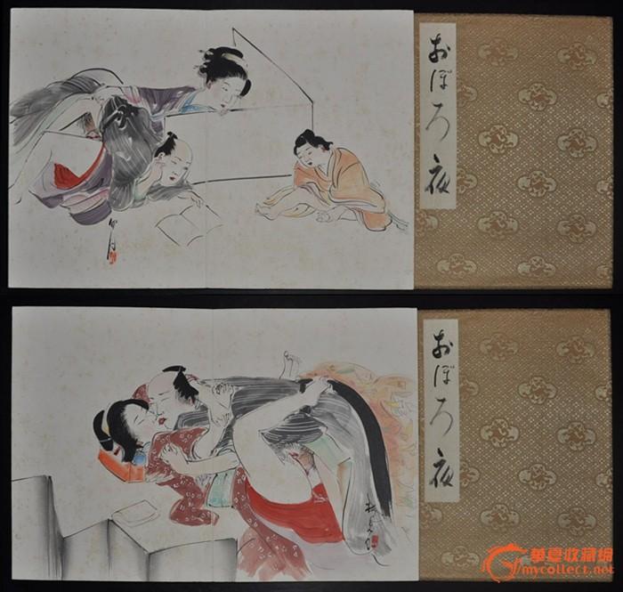 民国日本画手绘水墨淡彩缎面春宫老册页《夜》