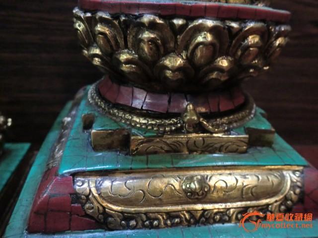 清代--铜鎏金镶宝石佛塔一对