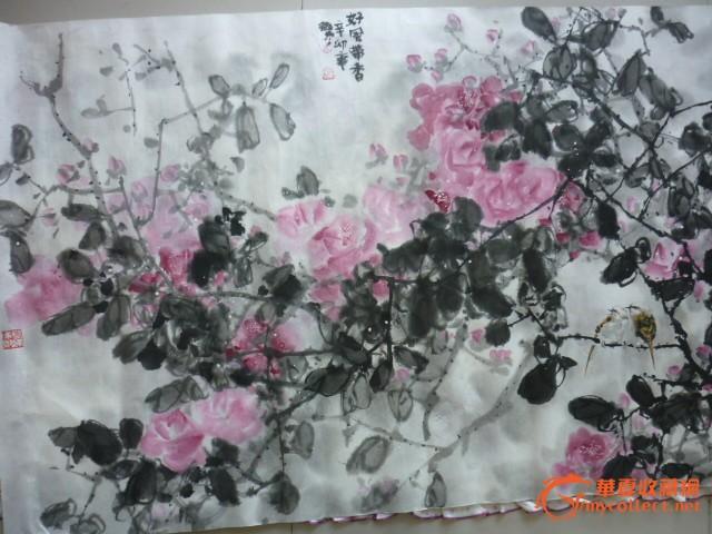 现代著名国画家孟微东,国画,牡丹