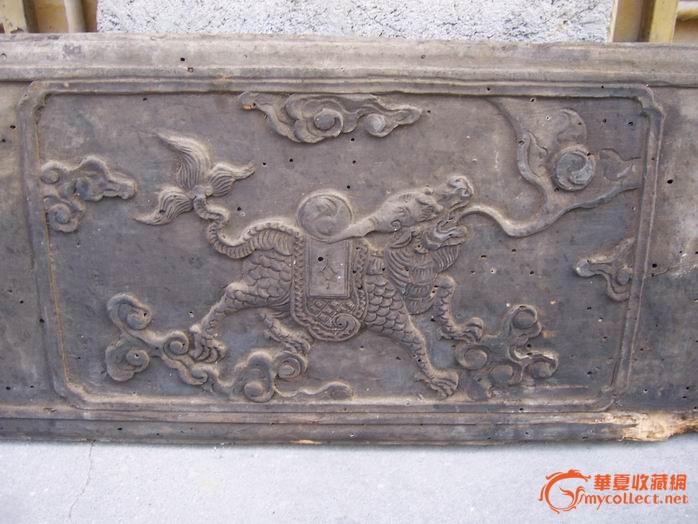 清代木雕麒麟花板