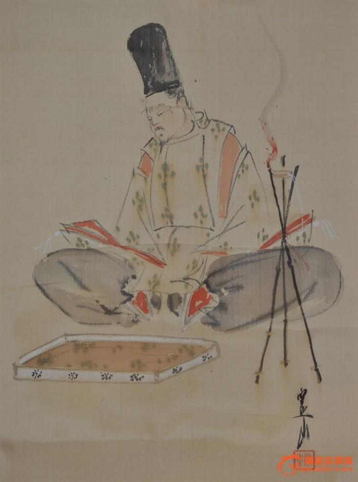 民国日本画家斋山手绘淡彩人物画原作立轴