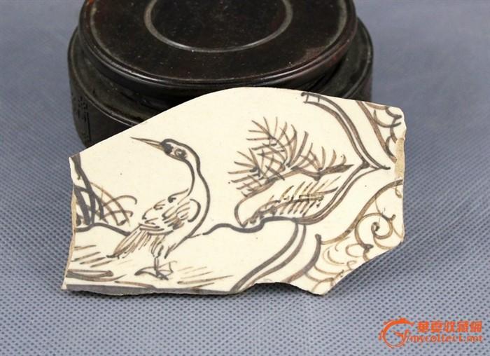 元代磁州窑瓷枕人物,动物画片残片