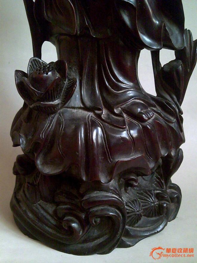 清代紫檀木雕观音像图片