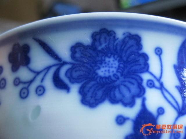 景德镇玲珑青花瓷碗13厘米图片