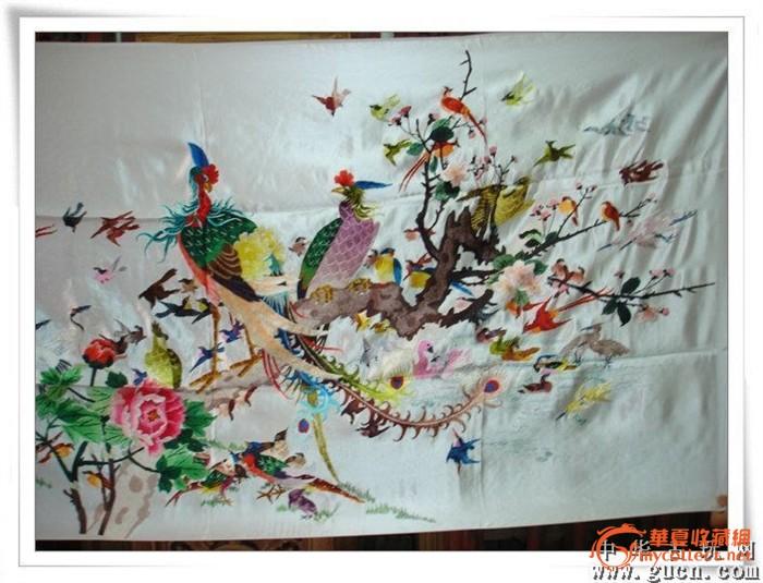 """老湘绣织锦刺绣十字绣湘绣民间工艺品""""百鸟朝凰""""(4)"""